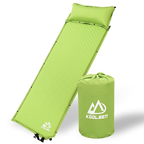 KOOLSEN Self-Inflating Sleeping Pad for Camping Backpacking Fishing and Climbing, Lightweight Camping Pad with Pillow, Green