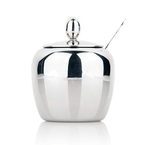 Sugar Bowl, Sugar Dispenser, Seasoning Bowl, Spices Bowl, Stainless Steel Sugar Bowl with Lid and Sugar Spoon, Apple Shape (300ML)