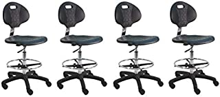 """BenchPro Deluxe Polyurethane Chair with 18"""" Adjustable Footring and Nylon Base, 21"""