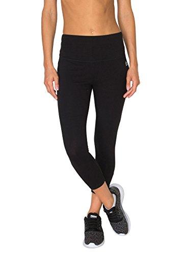 RBX Active Damen Capri-Workout-Leggings aus Baumwolle und Elastan, Bauchkontrolle - Schwarz - Mittel