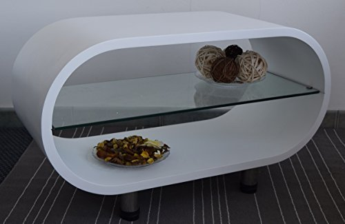 Rebecca Srl Tavolo Tavolino Ripiano Vetro Legno Bianco Design Moderno Salotto Soggiorno(Cod. 0-1535)