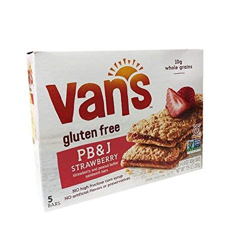 Van's Gluten Free Simply Delicious Whole Grain 5 Snack Bars 1 Box (PB & J)