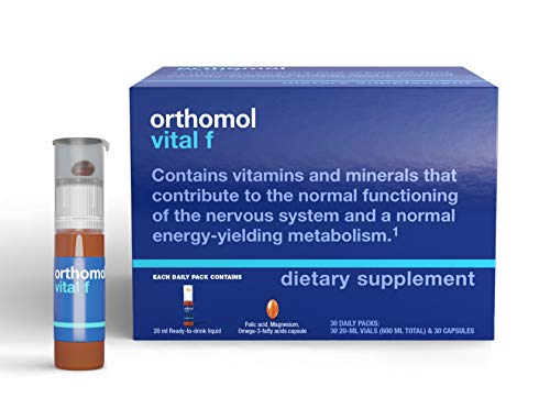 Orthomol Vital F Vial, Women's Multivitamin, 30-Day Supply, Vitamins A, B, C, D, E, K, Calcium, Iodine, Omega-3