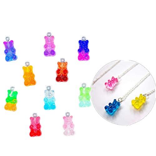 SANXDI 50 PCS Colorful Gummy Bear Pendant Cute Glitter Candy Charms Resin Bear PendantDIY Earring Necklace Bracelet Creative Jewelry Making Accessories Random Color for Women Girls Gift