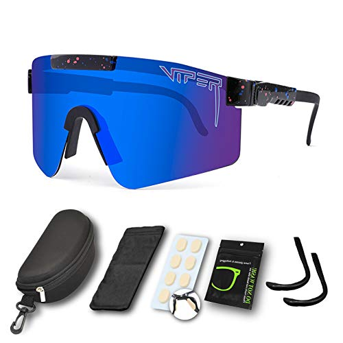CWWHY Sport Sonnenbrille, Polarisierte Sonnenbrille, Winddichte Staubdichte Brille Für Den Außenbereich, UV400 Verspiegelte Linse, Für Frauen Und Männer Alle Arten Von Outdoor-Aktivitäten,C05