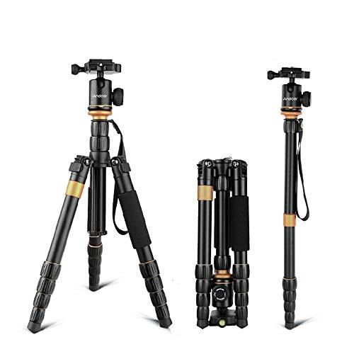 Andoer Pro Trípode Reflex Portátil 132cm, Trípode Monopie 2-en-1 Soporte de Fotos de Aleación de Aluminio para Cámara Digital Canon Nikon Sony Pentax Panasonic DSLR y Videocámara Carga Máxima 5kg
