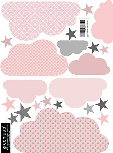 greenluup Wandsticker Wandaufkleber Wandtattoo Wolke Wolken Sterne Rosa Grau aus ökologischen Materialien (Wolken Rosa)