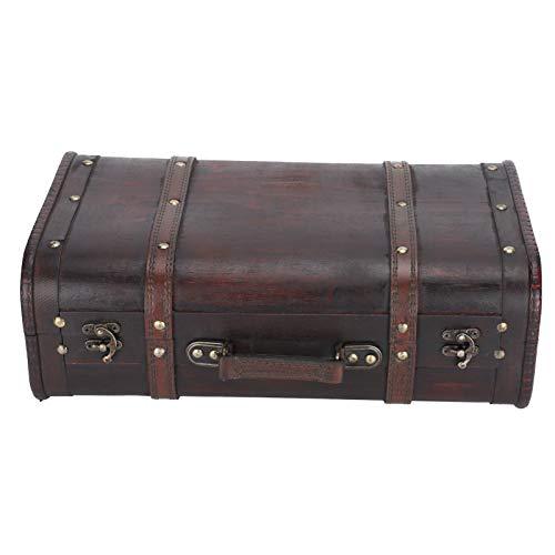Maleta de madera, cierre de hebilla Hermosa maleta vintage de madera, para hombres, mujeres, caja de decoración, accesorios de fotografía para estudio fotográfico