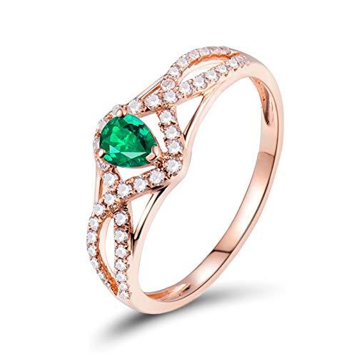 AnazoZ Anillos Mujer con Esmeralda,Anillo de Oro Rosa 18K Oro Rosa Verde Gota de Agua con Esmeralda Verde 0.3ct Diamante 0.22ct Talla 15