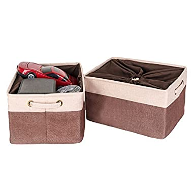 Codin Large Fabric Storage Bins With Lid by Stylish 16,5 x 12,6 x 9,4 Inches Consolidated Foldable Storage Cubes With Handles And Dustproof Drawstring Closure, (2-Pack, Brown) Fits Anywhere