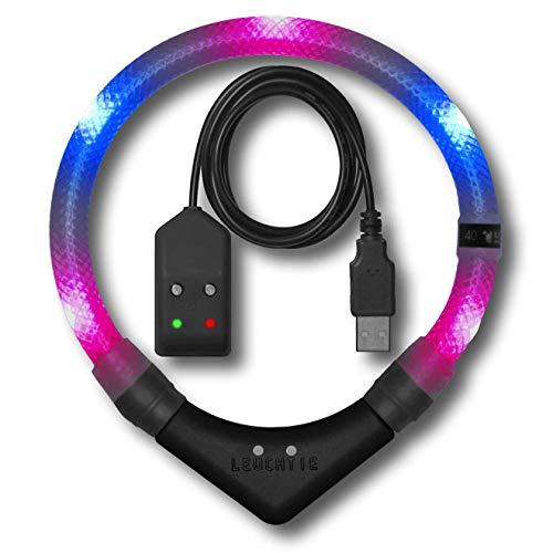LEUCHTIE® Leuchthalsband Premium Easy Charge pink-blau Größe 45 I LED Halsband für Hunde I USB aufladbar I konstante Leuchtkraft I wasserdicht I extrem hell