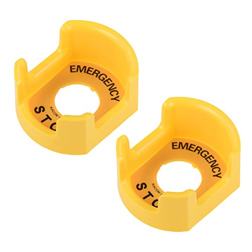 uxcell 30mm Push Switch Button Protective Cover With Emergency Stop Warning Circle Yellow 2pcs