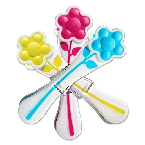 simply direct 60 x Presa Morbida Pioli/Mollette con Disegno Fiore in Colori Misti - Ideale per Delicati e Articoli Leggeri
