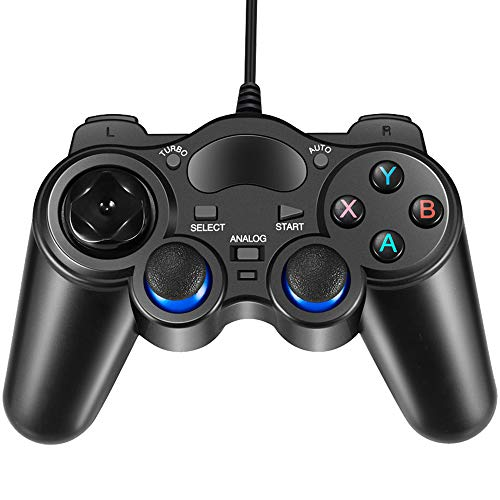 USB Wired Gaming Controller, EIFFTER PC Game Controller Joystick with Dual-Vibration Turbo and Trigger Buttons for Windows & Android & PS3 & TV Box