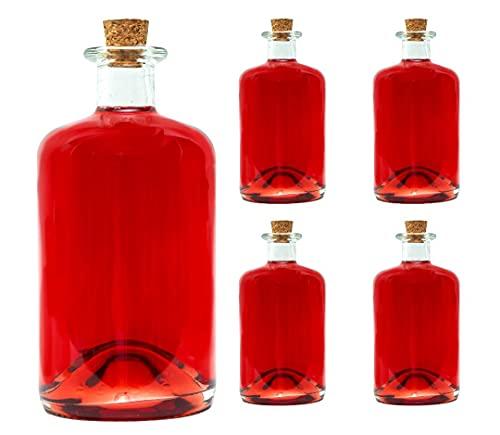slkfactory Lot de 4 Bouteilles en Verre vides, de 1000 ML/ 100 cl /1 l, pour Pharmacie, Liqueur, vinaigre et Huile