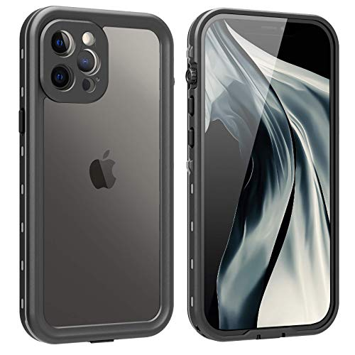 iPhone 12 Pro Max Waterproof Case, Shockproof Drop Protection iPhone 12 Pro Max Case with Screen Protector, Full Body Protection Heavy Duty Underwater Cover for iPhone 12 Pro Max 6.7'' (Black+Clear)