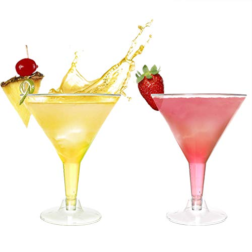 7oz Plastic Martini Glasses for Parties,72 pack Clear Plastic Martini Glasses,Mini Dessert Cups,Clear Plastic Wine Glasses,Plastic Cocktail Glasses
