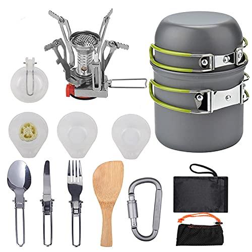 Kit de utensilios de cocina para acampar, juego de cocina para exteriores, utensilios de cocina para 1 a 2 personas, para acampar, mochileros, senderismo, picnic al aire libre, ligero ( Color : A )