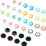 36 Pieces Cute Cat Paw Replacement Thumb Grips Caps Cover Silicone Luminous Analog Controller Joystick Thumb Stick Cap Compatible with PS5 PS4 PS3 PS2 Xbox 360 Xbox One Controllers