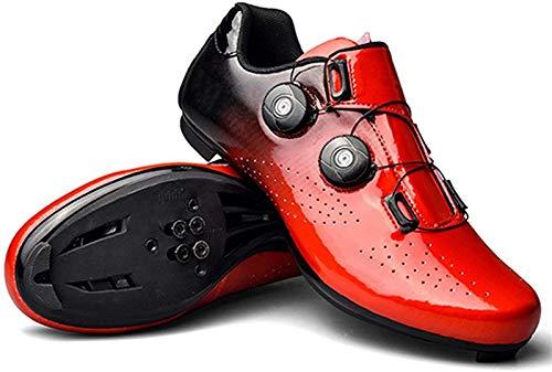 ZQW Zapatos De Ciclismo De La Carretera SPD De Los Hombres, Girando con Tacos Livianos Zapatos Fuertes Soles De Fibra De Carbono (Color : Red, Tamaño : UK-5/EU38/US-6.5)