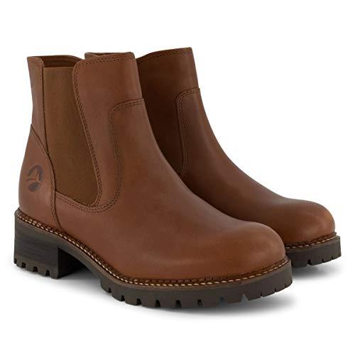 Travelin' Borgen Damen - Ankle Boots - Chelsea Boots - aus Leder - Cognac EU 38