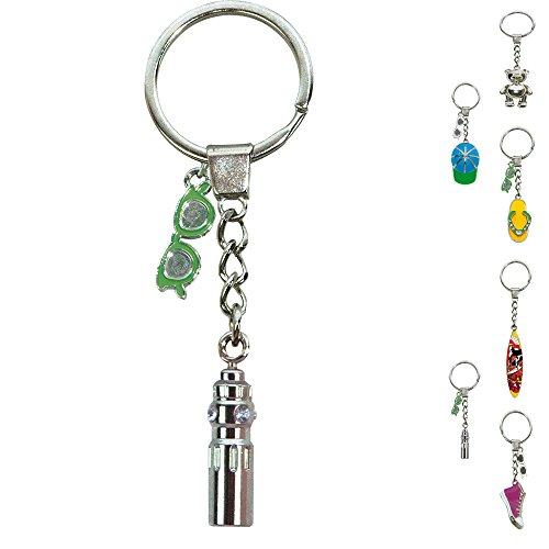 ebos Schlüsselanhänger ✓ aus Metall ✓ Accessoire |fob Key | Sommer | Wasser (Trinkflasche/Silber)