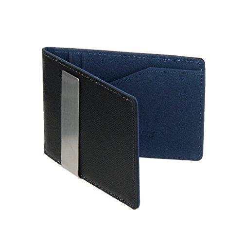 #N/a Carteras Finas con Clip de Dinero para Hombre Billetera con Titular de Tarjeta de Crédito de Café con Identificación Negra - Azul