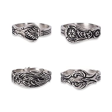 DII Antique-inspired Napkin Rings for Wedding Receptions, Dinner Parties, Family Gatherings, Everyday Use - Vintage Silver Spoon, Set of 4