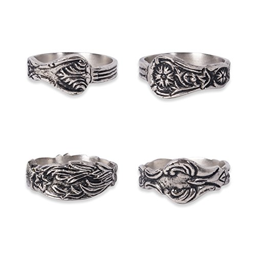 DII Decorative Assorted Napkin Ring Set, One Size, Vintage Silver Spoon, 4 Count