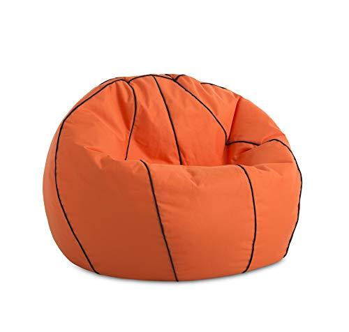 Textilhome - Puff Basket PUF Baloncesto - Pelota de basquet Puff, 90cm Diametro. Divertido, Resistente, Doble repunte. Color Naranja