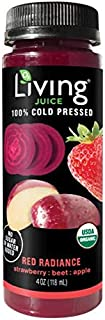 O2 Living Juice Red Radiance Organic Cold-Pressed Shot, No Sugar or Water Added, Made with Strawberry, Beet, and Apple, Loaded with Nutrients, Vitamins, Enzymes, and Minerals (8-Pack)