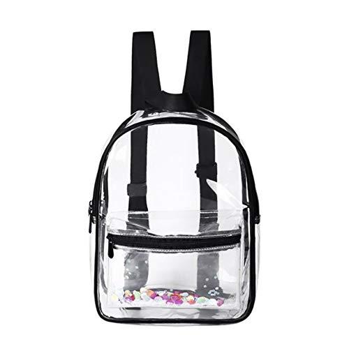 Aiasiry Clear Mini Mochila de PVC Transparente al Aire Libre  Negro