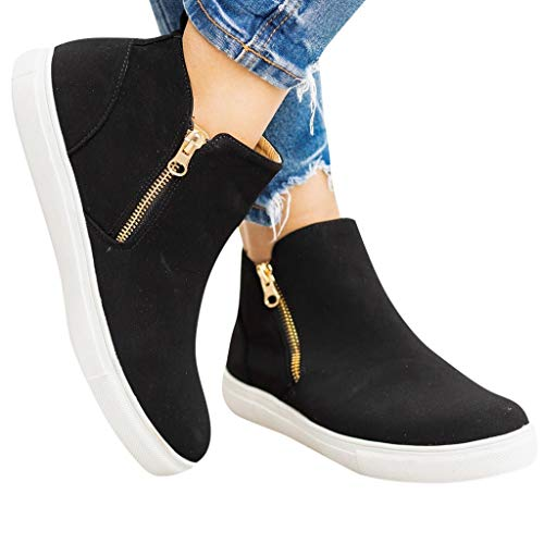 Find Bargain Dainzuy Womens Wedge Sneakers Fashion High Top Side Zipper Platform Slip on Ankle Booti...