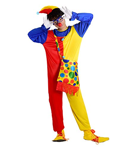 ReliBeauty Disfraz Payaso Adulto Disfraces Carnaval con Sombrero y Complementos,42-50(5XL)