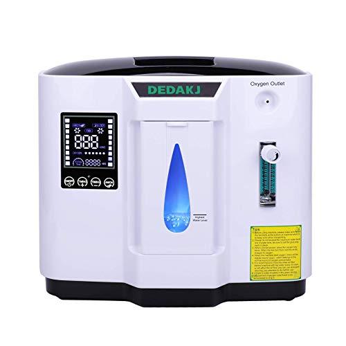 DEDAKJ Concentratore di Ossigeno, 1-7L/min il Flusso 30%-90% Regolabile Concentrazione Ventilatore Polmonare Portatile, DDT-1A