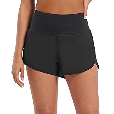 Workout Shorts for Women Active Wear Yoga Running Athletic Shorts Built in Underwear (GFDS003 Black XL)