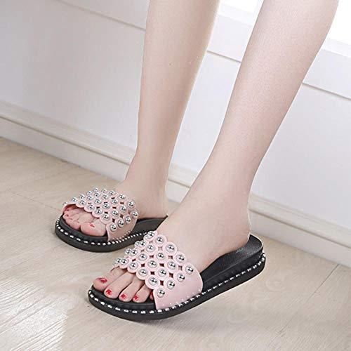 MMWW Suave Bañarse Chanclas,Zapatillas de tacón de Pendiente de Moda para Mujer, Sandalias de Plataforma con Plataforma de Uso Exterior-1 Rosa_39,Zapatillas Antideslizantes Libre Baño
