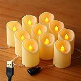 Guirnalda de luces LED sin llama, 1,5 m, 10 leds, 5 cm de profundidad x 7 cm de alto, se puede conectar a 80 velas de 12 m, alimentado por USB (no requiere batería)