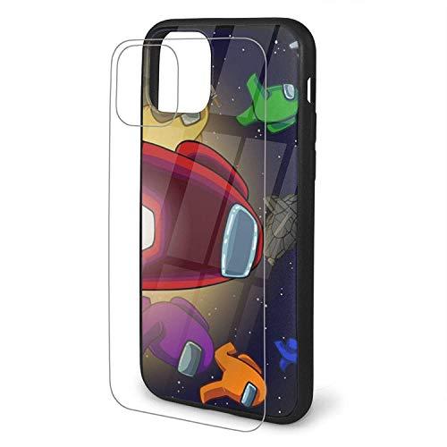 Among Us - Carcasa para iPhone 11 Pro Max, cristal templado 9H con marco de TPU para iPhone 11, iPhone 11 Pro, iPhone 11 Pro Max (amarillo, iPhone 11 Pro Max)