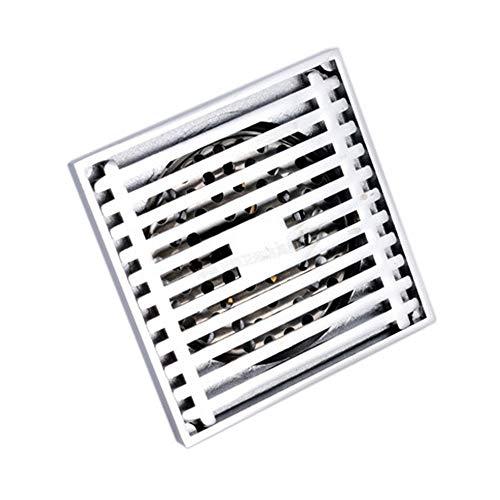 InChengGouFouX wastafel afvoerfilter anti-klomp koper badkamer tegel invoegen strip vloer afvoer 4-inch vierkante douche wastafel afvoerfilter met verwijderbare cover voor keuken badkamer garage