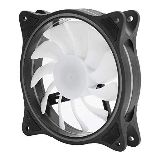 Ventilador de caja, ventilador de enfriamiento de computadora silencioso a prueba de golpes de 120 mm y 4 pines con 11 aspas de ventilador y diseño de gran volumen de aire, ventilador de caja de PC