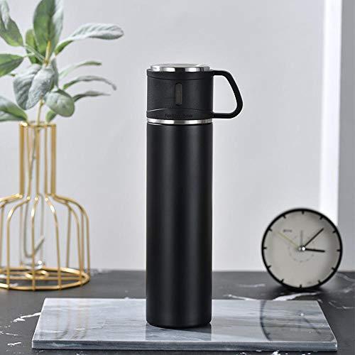 Jusemao Botella de agua portátil de acero inoxidable de gran capacidad para deportes al aire libre botella de agua 600ml-black_600ml