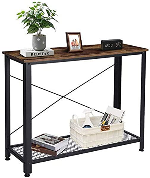 Liusin Console Table Modern Rustic Narrow Long Industrial Sofa Entry Hall Table With Storage Shelf For Living Room Hallway Entryway Farmhouse Easy Assembly Black Metal Frame Vintage Dark Brown