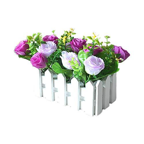 DaoRier Blumentöpfe Blumenkasten für Topfpflanzen Fassvase Garten Balkon Gartentopf Schreibtisch Pastoral Blumenladen Aufbewahrung Kunstblume Kunstblume Holzzaun Eingang Klein lila