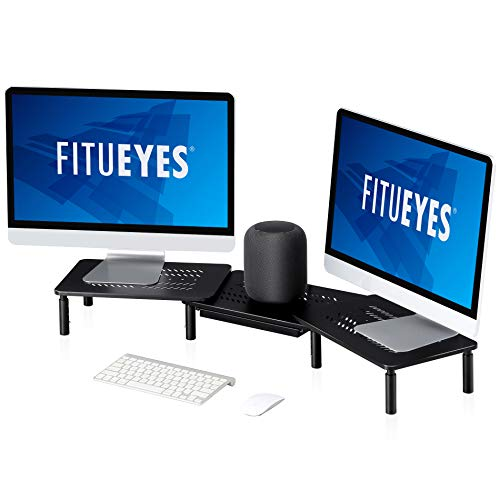 FITUEYES 3 Shelf Monitor Stand with Drawer - Adjustable Computer Monitor Riser, Metal Desktop Stand with Vented, PC Cellphone Cable Management, Office Organization, Black, DT115903MB