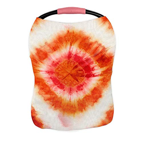 Review PKQWTM Tie-Dye Pattern of Red and Orange Color On White Silk Nursing Cover Baby Breastfeeding...
