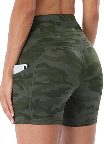 "Jugofar Yoga Short Women High Waist Side Pockets Workout Running Athletic Back Pocket Shorts 5"" Multi Army Green Camo Medium"