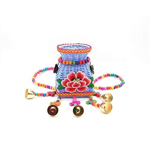 BFCGDXT Nuovo stile etnico creativo spalle ricamate colore dei bambini piccolo cestino posteriore fibbia posteriore viaggio souvenir-Piccola peonia blu bianco latte