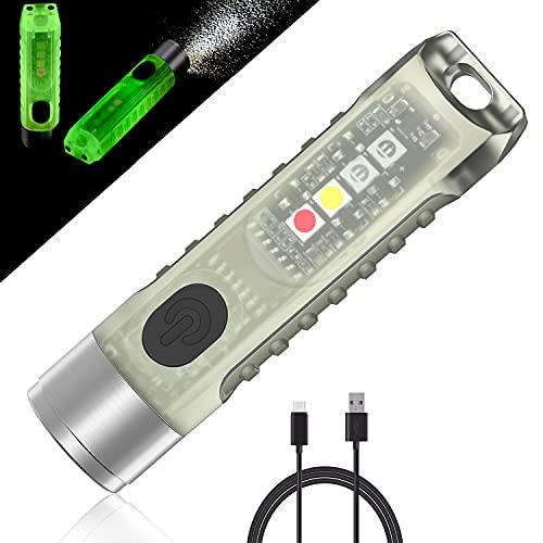 Jeebel Mini Torcia di LED Aurora,Torcia di Tascabile 400 LM Ricaricabile USB Bagliore Nel Buio Torcia Portachiavi Con Luce Laterale UV/Bianco/Rosso blu EDC Impermeabile Magnetico IP65,Regali Creativi
