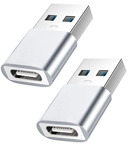 Adaptador USB C a USB Macho, YOKELLMUX Mini USB Hembra de Alta Velocidad (Tipo-C) a USB 3.1 Macho (Tipo A) de Carga rápida y sincronización de Datos OTG Adaptador convertidor - 2 Unidades (Plata)